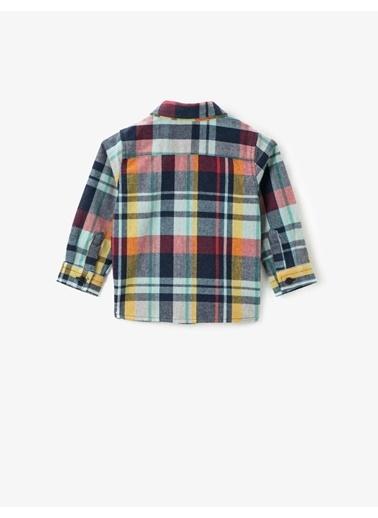 Koton Klasik Yaka Kareli Uzun Kollu Gömlek Lacivert
